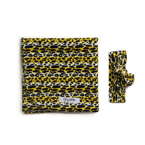 "Leopard Swaddle Blanket -  34"" X 34"" - Gigi and Max"