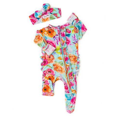 Tessa Teal Floral Newborn Footed Ruffle Zip - Gigi and Max