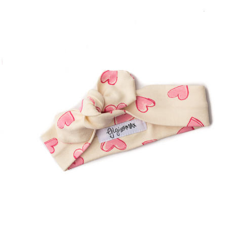 Cream with pink hearts headband - Gigi and Max