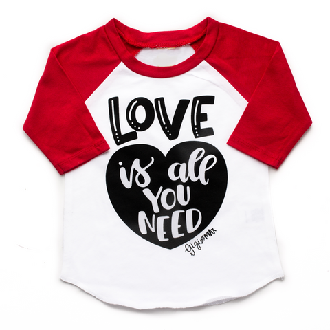 Red sleeved raglan - love is all you need - Gigi and Max