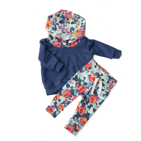 Heather Blue with Teal Floral Hoodie and Jogger Set Handmade - Gigi and Max
