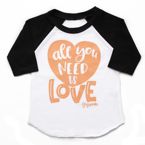 Black sleeved raglan - all you need is love - Gigi and Max