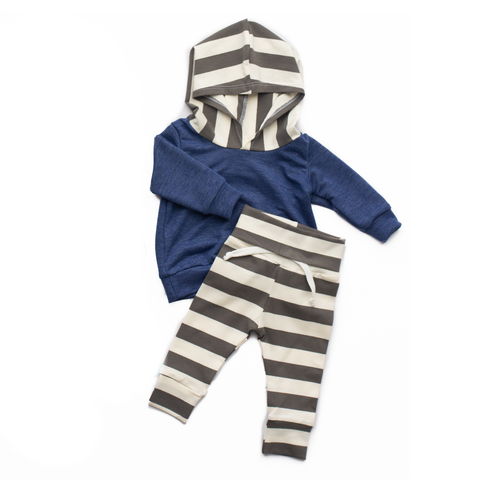 Heather Blue with Gray Stripes and Jogger Set Handmade - Gigi and Max