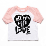 Pink sleeved raglan - all you need is love - Gigi and Max