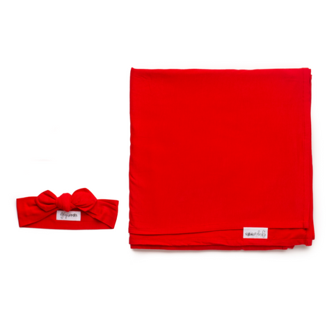 Red Swaddle blanket - Gigi and Max
