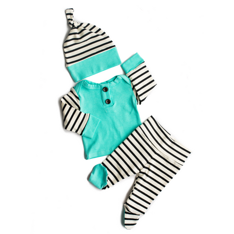 3 Piece Button Newborn Outfit - black and white stripe with teal - Gigi and Max