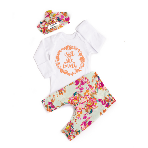 Ada Mint Floral Newborn Outfit - Gigi and Max