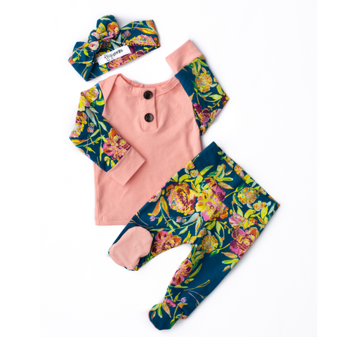 3 Piece Button Newborn Outfit - Marley floral - Gigi and Max