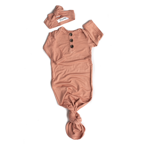 Molly Dusty Pink Button Gown - NB-3m - Gigi and Max