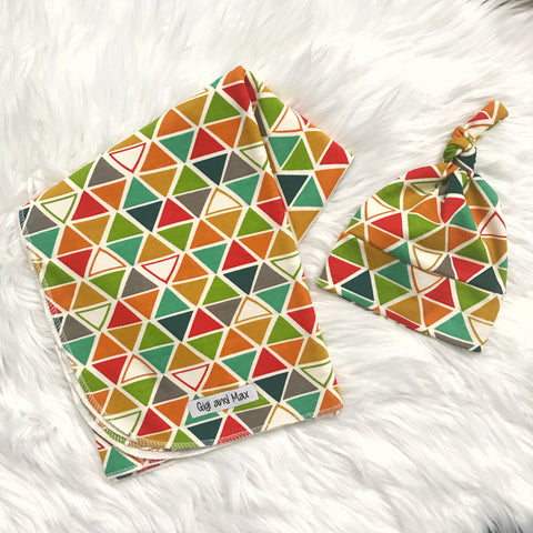 "Swaddle Rainbow Triangle -  34"" X 34"" - Gigi and Max"