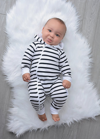 Charlie Stripe 2 way zip Romper - SINGLE LAYER read sizing details (runs big) - Gigi and Max