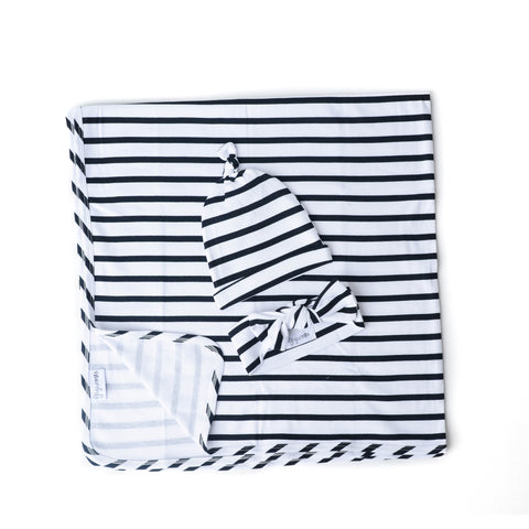 "Charlie Stripe Swaddle blanket - 36"" x 36"" - Gigi and Max"