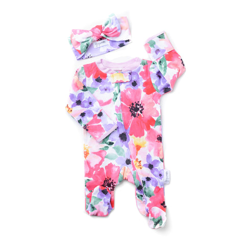 Watercolor Emilia floral Newborn footed zippered one piece - Newborn Size ** please allow 4-6 weeks for processing ** - Gigi and Max