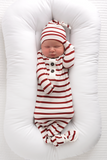 Rory Maroon Stripe Newborn knot hat - Gigi and Max
