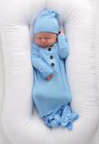 Baby Blue Knotted Button Gown - Gigi and Max