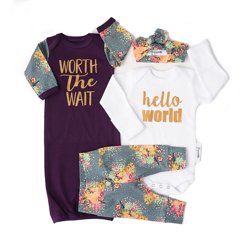 Baby Girl Newborn going home outfit and gown bundle (Bloom Floral) - Gigi and Max