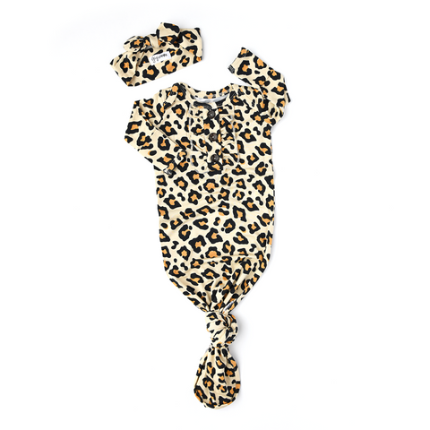 Gia Leopard Knotted Ruffle Button Gown - Gigi and Max