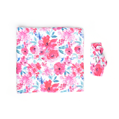 Lucy Floral Swaddle blanket - Gigi and Max