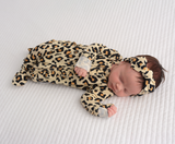 Gia Leopard Newborn Footed Ruffle Zip - Gigi and Max