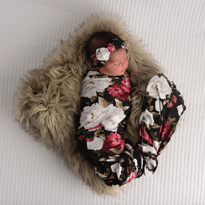 Emma Black Peony SWADDLE - Gigi and Max