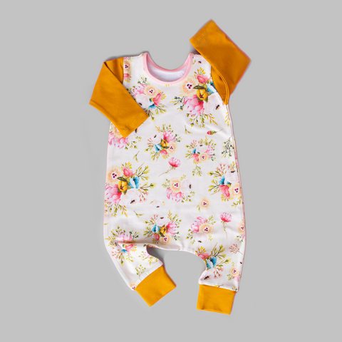Mustard and Cream fall floral - Long Sleeve romper - Gigi and Max