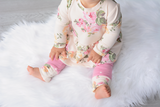 Cream and Pink Floral Peplum and Leggings Set Handmade (headband sold separately) - Gigi and Max