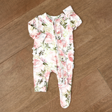 Caroline Floral Newborn Footed Ruffle Zip - Gigi and Max