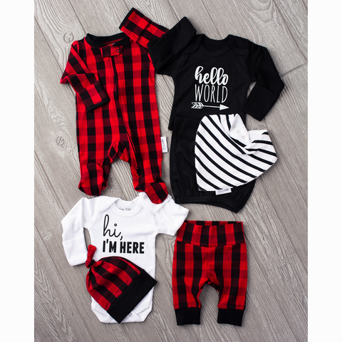 Ultimate baby boy Newborn going home outfit bundle (Hudson Buffalo Plaid) - Gigi and Max