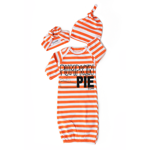 Orange stripe Pumpkin Pie gown - Orange - Gigi and Max