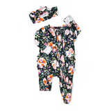 Willow Charcoal Floral Newborn Footed Ruffle Zip - Gigi and Max