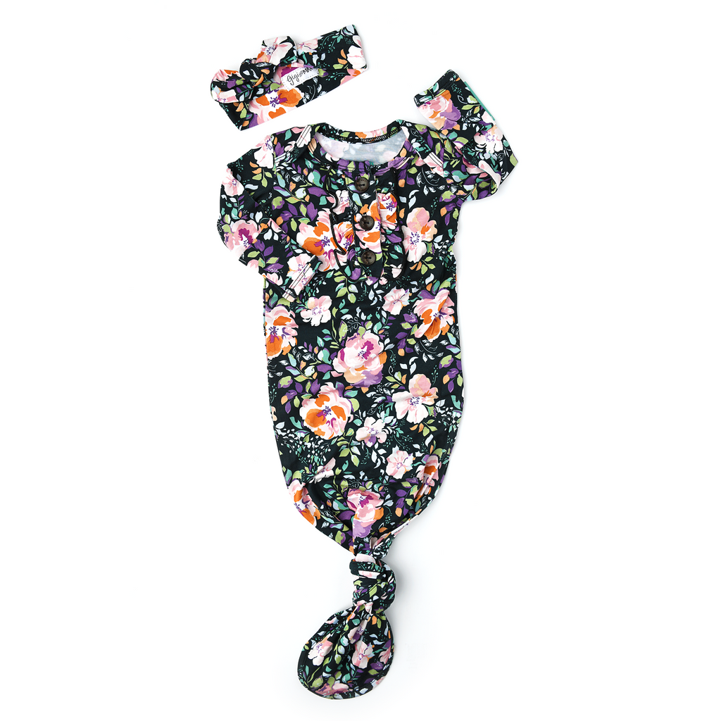 Willow Charcoal Floral Knotted Ruffle Button Gown - Gigi and Max