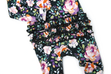 Willow Charcoal Floral Ruffle Zip One Piece - Gigi and Max