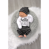 Hello World black and gray stripe Newborn Outfit - Gigi and Max