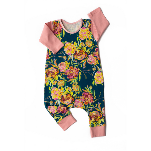 Teal and Pink with flowers - Long Sleeve romper - Gigi and Max