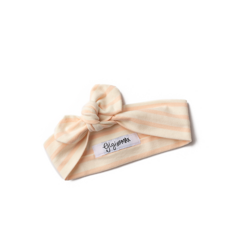 Peach stripe topknot headband - matches slate floral peplum set - Gigi and Max