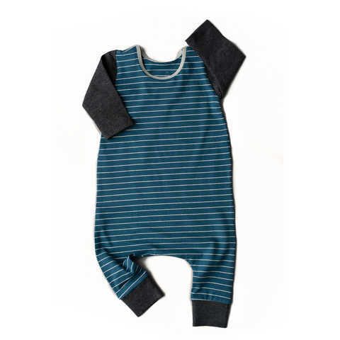 Navy and white stripes Charcoal Arm - Long Sleeve romper - Gigi and Max