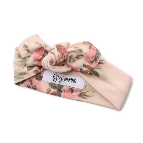 Soft Pink Floral topknot headband - matches soft pink floral and sage peplum set - Gigi and Max