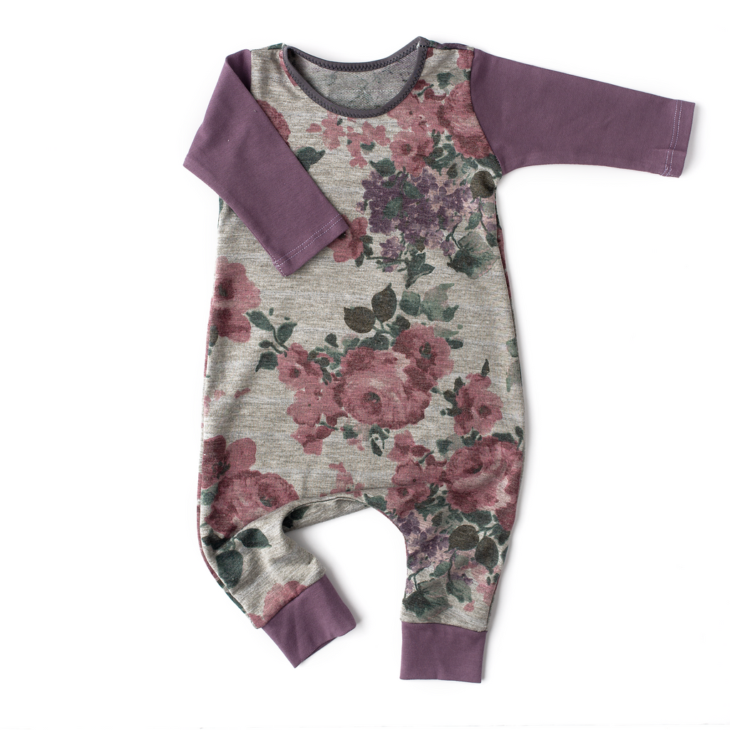 56a76b98b4e3 Heathered Gray floral with Dark Lavender arms - Long Sleeve romper - Gigi  and Max
