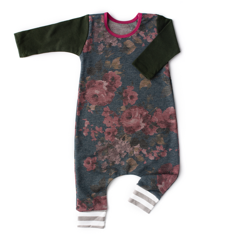 Heathered Navy floral with Dark Olive arms - Long Sleeve romper - Gigi and Max
