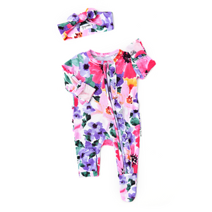 Emilia Floral Newborn Footed Ruffle Zip