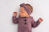 Mauve Purple Knotted Button Gown -  NB-3m - Gigi and Max