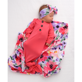 Coral Pink Knotted Button Gown -  NB-3m - Gigi and Max