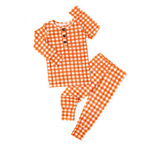 Riley Orange Gingham Two Piece - Gigi and Max