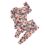 Ari Dark Vintage Floral Ruffle Two Piece - Gigi and Max