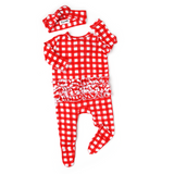 Frost Red Gingham RUFFLE Newborn ZIP - Gigi and Max