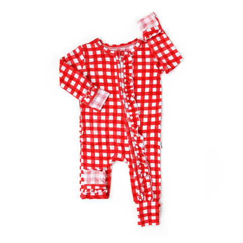Frost Red Gingham RUFFLE ZIP - Gigi and Max