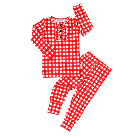 Frost Red Gingham RUFFLE TWO PIECE - Gigi and Max