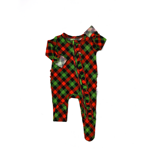 Paxton Christmas Plaid RUFFLE Newborn ZIP - Gigi and Max