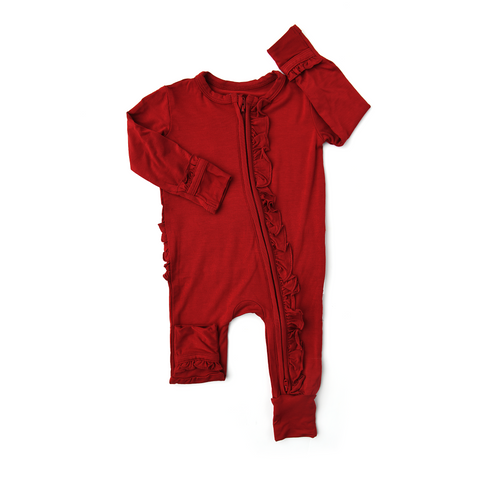 Sawyer Red Rust RUFFLE ZIP - Gigi and Max