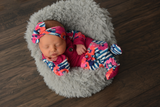 3 Piece Button Newborn Outfit - fuchsia with blue stripe floral - Gigi and Max
